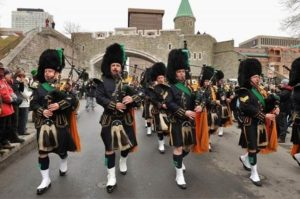 The NYPD Pipes and Drums marching band performing at the Quebec City Saint Patrick's Day Parade.